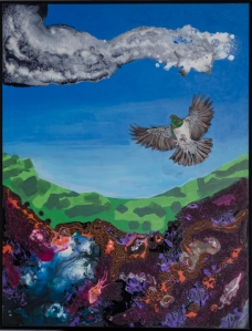 Kereru saw lava. 620x780 acrylic on board