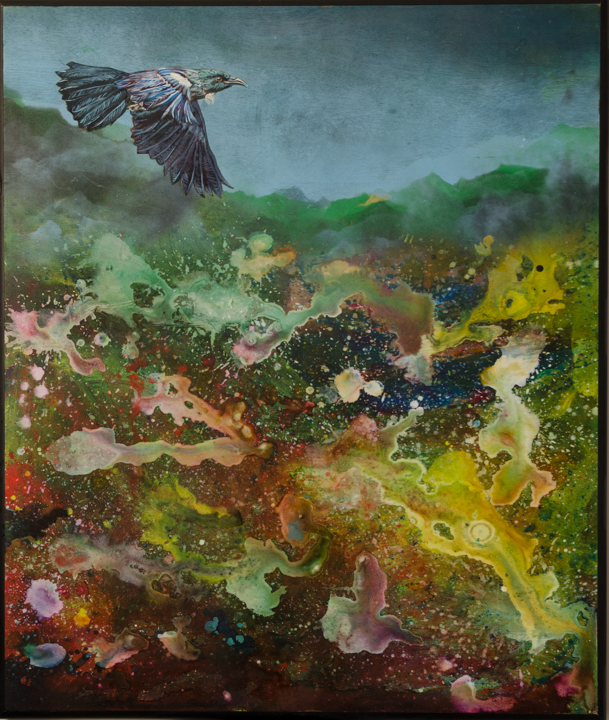 Tui over Primordia 680x800 acrylic on board